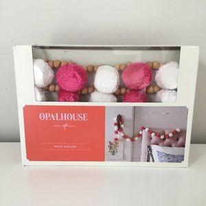 Opalhouse Wood Garland Pink White Pom Poms